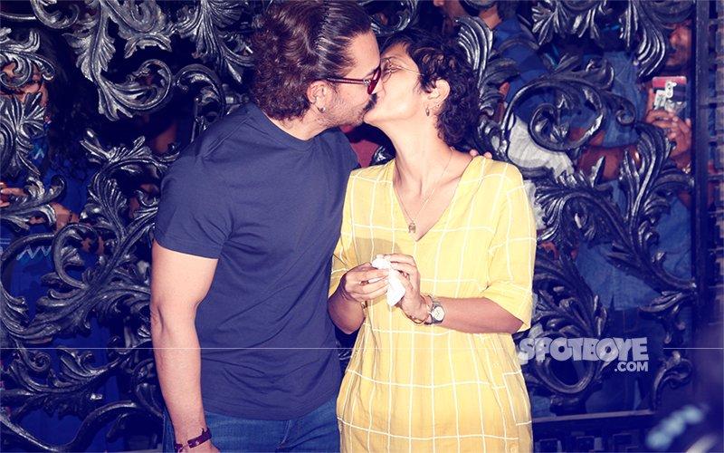 Pics: Kiran Rao Gives Birthday Boy Aamir Khan A Peck On The Lips