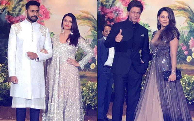 हाथों में हाथ डालकर शाहरुख गौरी और ऐश्वर्या अभिषेक पहुंचे सोनम के रिसेप्शन में
