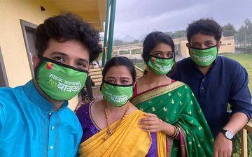 Majhya Navryachi Bayko Cast Abhijeet Khandkekar, Anita Date Kelkar, Rasika Sunil And Others Shoot In Nashik With Their Masks On