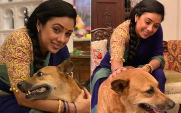Rupali Ganguly AKA Anupamaa Is Taking Care Of A Pregnant Dog Named Rimjhim On The Sets In-Between Shots