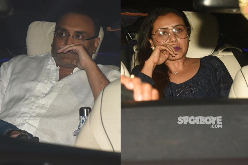 aditya chopra and rani mukerji snapped outside karan johar house yesterday evening