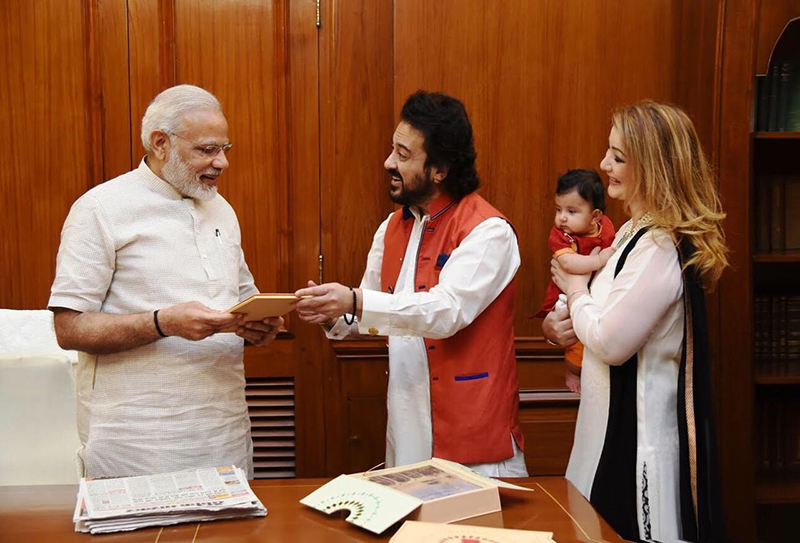 adnan sami meets pm narendra modi with wife and daughter