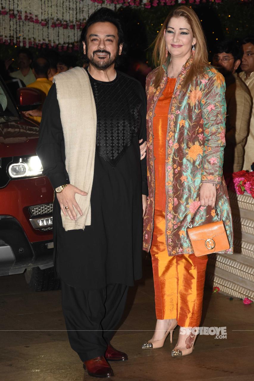 adnan sami with wife at ambani ganpati celebration