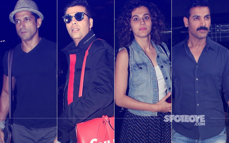 Farhan Akhtar, Karan Johar, Taapsee Pannu & John Abraham's Fab Airport Style