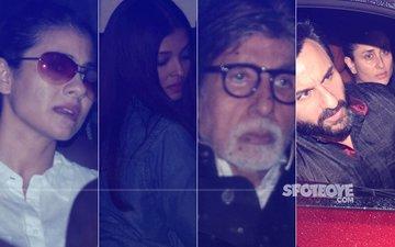 Amitabh, Abhishek, Aishwarya, Kajol, Saif & Kareena Reach Shashi Kapoor's House