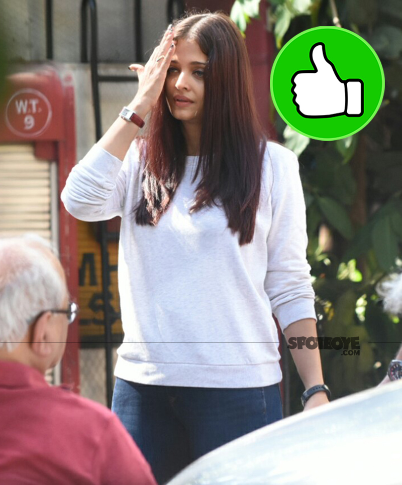 aishwarya rai bachchan spotted at her mother house in bandra