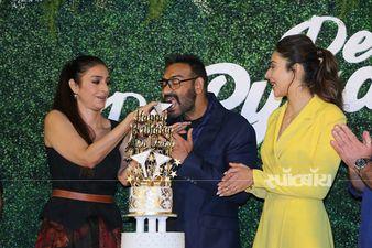 दे दे प्यार दे के ट्रेलर लॉन्च इवेंट पर तब्बू और रकुल प्रीत सिंह के साथ अजय देवगन ने सेलिब्रेट किया अपना बर्थडे