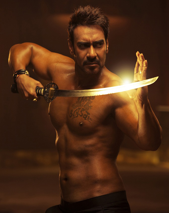 ajay devgn shows off his sword fighting skills