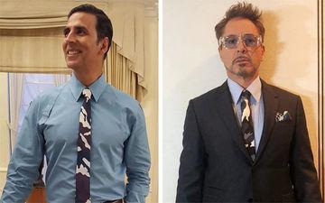 आयरन मैन जैसी टाई पहने दिखाई दिए अक्षय कुमार, पूछा- कौन बेहतर