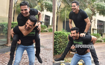 Akshay Kumar-John Abraham Piggy Back To The Box Office? Duo Snapped Promoting Mission Mangal And Batla House
