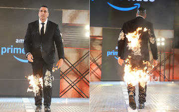 अक्षय कुमार का अब तक सबसे बड़ा धमाका, कपड़ों में आग लगाकर मीडिया के सामने पहुंचे