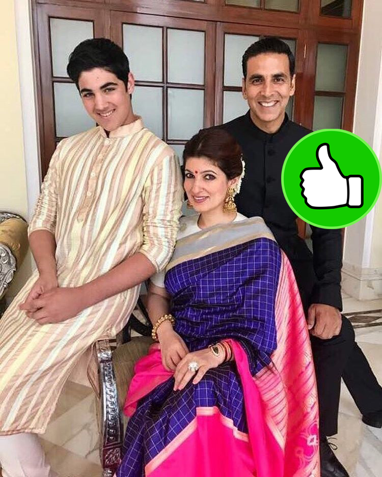 akshay twinkle and aarav posing for a family picture