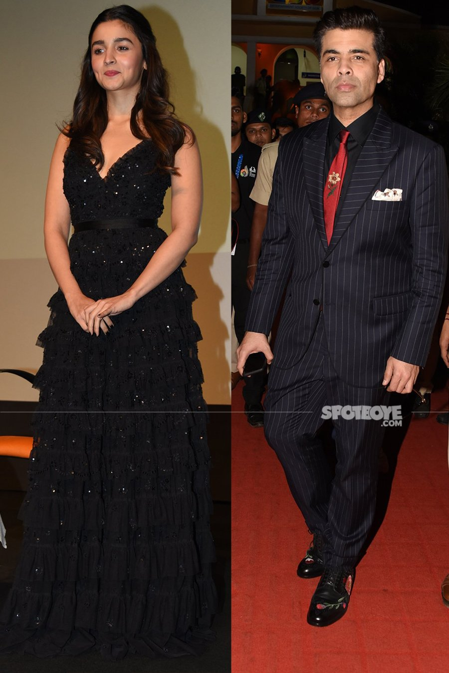 alia bhatt and karan johar at iffi 2017