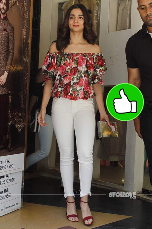alia bhatt ina floral off-shoulder top at the book launch juhu