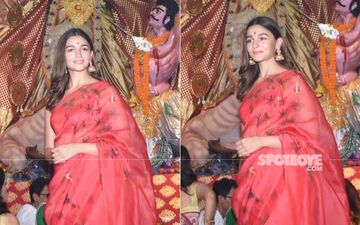 Durga Puja 2019: Alia Bhatt Makes A Rare Appearance In A Red Saree; Be Still Our Fluttering Hearts - Pictures