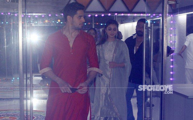 KISS & MAKE UP? Alia Bhatt & Sidharth Malhotra HAPPILY Exit Together From Sanjay Kapoor's Bash