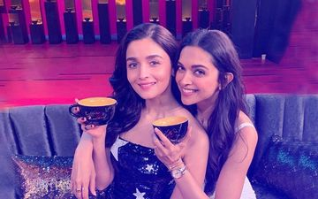 Here's The first Pic Of Ranbir's Past, Deepika Padukone, and Present, Alia Bhatt, Sharing The Couch On Koffee With Karan 6