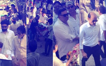 Amitabh Bachchan, Abhishek Bachchan, Rishi Kapoor Arrive At Vinod Khanna's Funeral