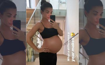 Heavily Pregnant Amy Jackson Flaunts Her Baby Bump Wearing A Black Bralet And Matching Pants