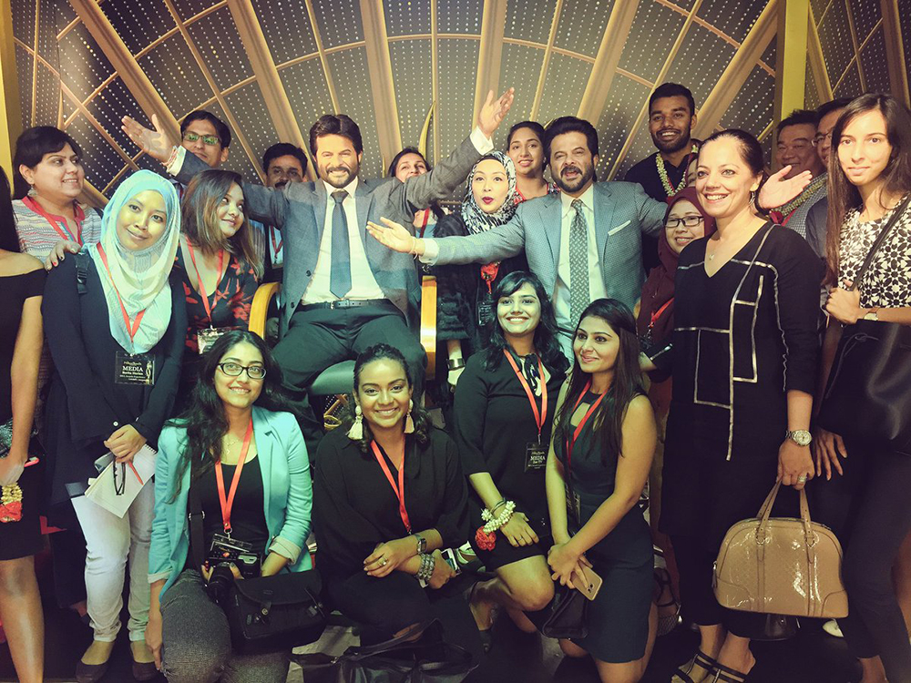 anil kapoor at the wax statue museum with the team with the wax statue
