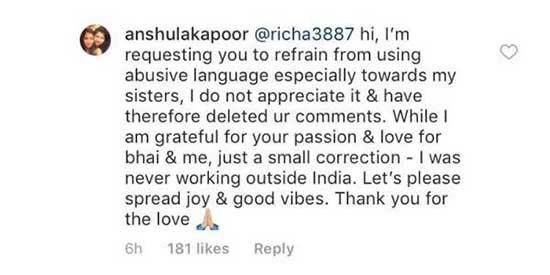 anushala kapoor slams the troll on instagram