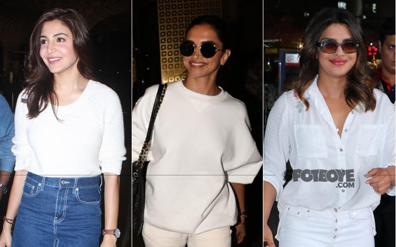 anushka sharma deepika padukone and priyanka chopra snapped at the airport