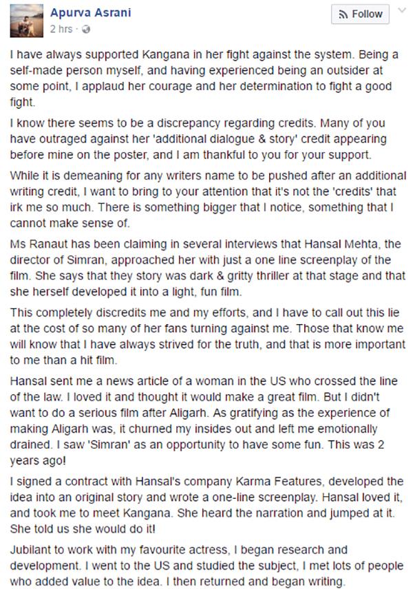 apurva ansari facebook post post split with hansal mehta - the Simran writer credit controversy