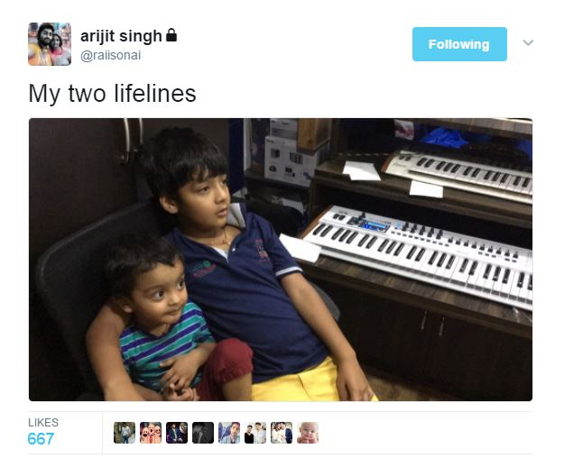arijit singhs children at recording studio