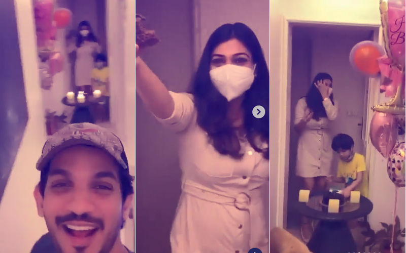 Arjun Bijlani Celebrates COVID-19 Positive Wife Neha Swami's Birthday Maintaing Social Distancing, STRICTLY No Hugs Or Kisses - Watch Videos