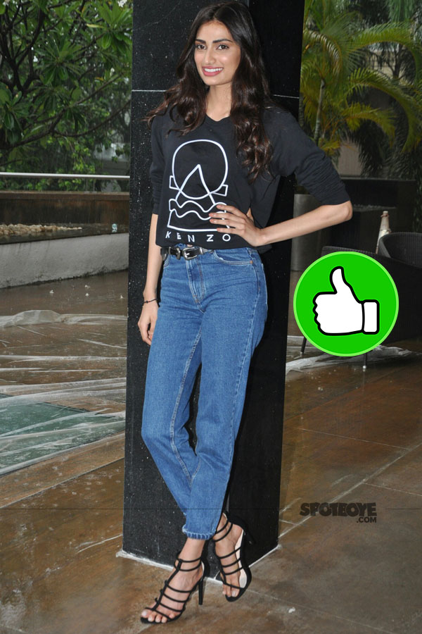 athiya shetty keeps it casual in a black tee and jeans during mubarakan promotions