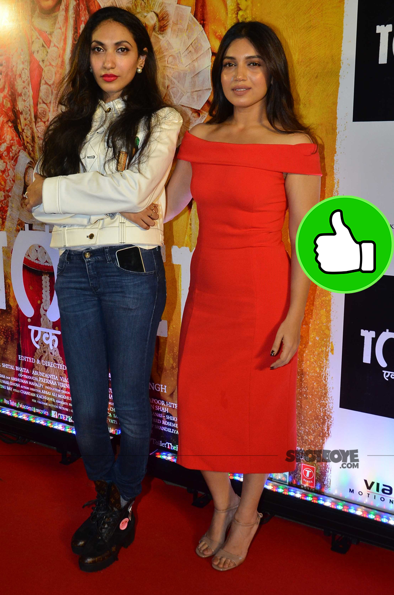 bhumi pednekar with prerna arora at toilet screening