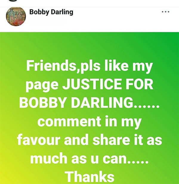 bobby darling fb page post
