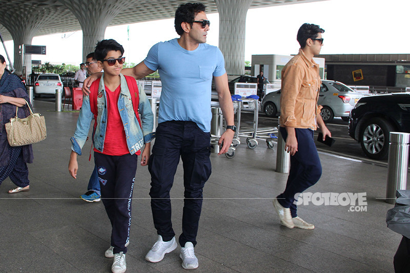 bobby deol snapped at the airport