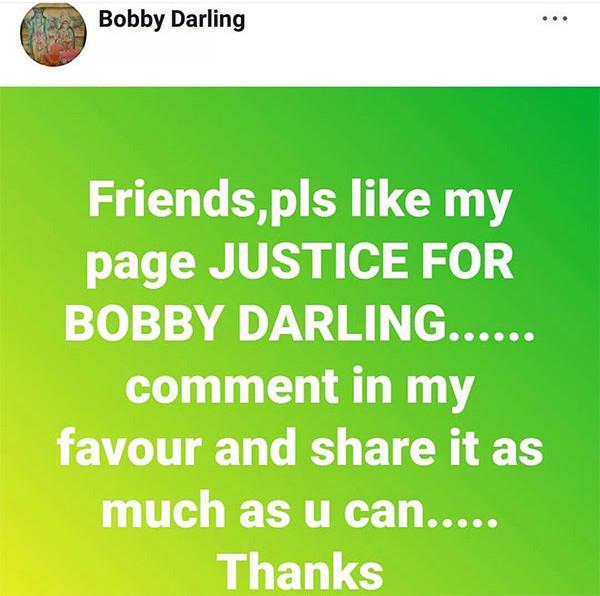 Bobby Darlings FB Post
