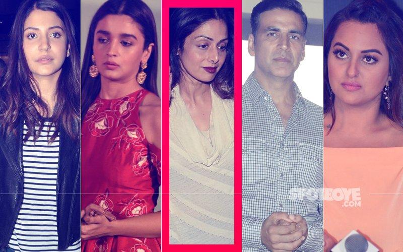Bollywood MOURNS Sridevi's Passing Away: Alia Bhatt, Anushka Sharma, Akshay Kumar, Sonakshi Sinha, Sushmita Sen Grief-Struck