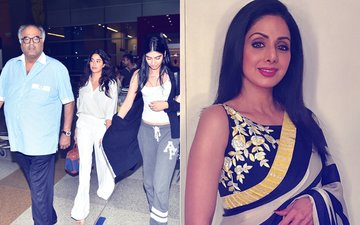 Janhvi & Khushi Reach Delhi Along With Father Boney Kapoor To Receive Sridevi's National Film Award