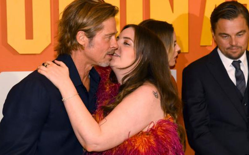 Brad Pitt Receives A Kiss From His Once Upon A Time In Hollywood Co-Star Lena Dunham