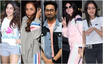 Sensational In Smart Casuals: Janhvi Kapoor, Malaika Arora, Ayushmann Khurrana, Sunny Leone, Ananya Panday