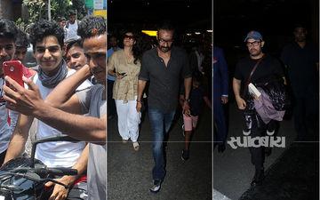 अजय देवगन, काजोल और आमिर खान हुए एयरपोर्ट पर स्पॉट तो ईशान खट्टर ने ली फैंस के साथ सेल्फी: देखिए तस्वीरें
