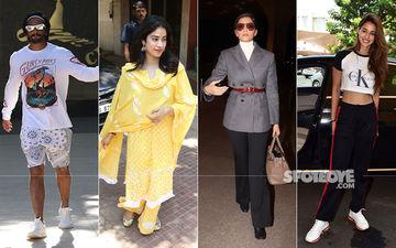Celeb Spottings: Ranveer Singh Dons Funky Outfit, Janhvi Kapoor Papped In An Ethnic Dress, Sonam Kapoor Chooses A Formal Look