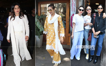 Celeb Spottings: Priyanka Chopra Keeps It Formal, Malaika Arora Goes Ethnic, Kareena-Karisma Kapoor Sport Casuals