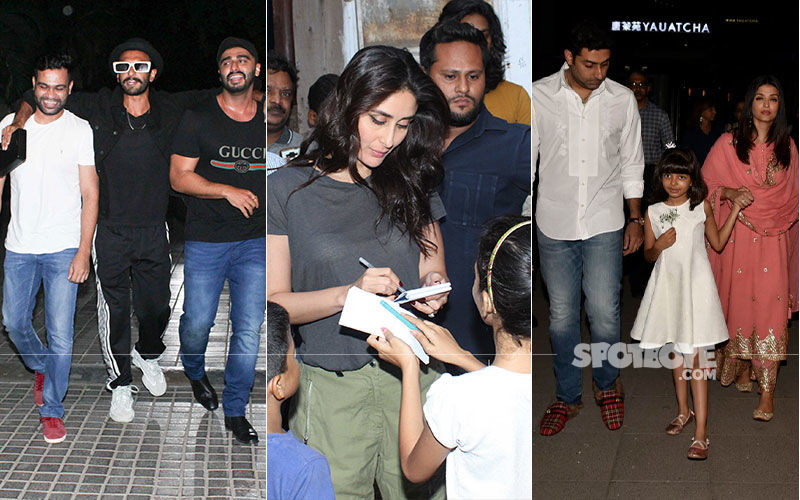 Celeb Spotting: Ranveer-Arjun's Gunday Moment, Kareena Spends Time With Li'l Fans, Abhishek-Aishwarya Enjoy Dinner Date