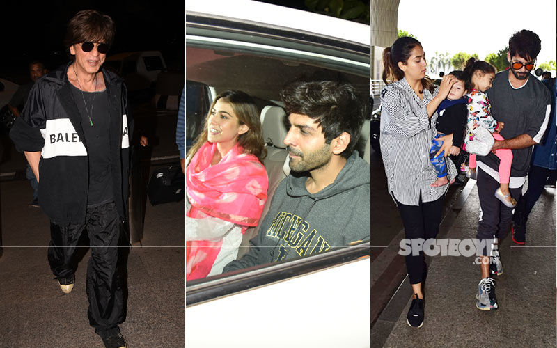 Celeb Spottings: Shah Rukh Khan Papped At Airport, Kartik-Sara Clicked Post Film Shoot, Shahid Kapoor Snapped With Wife And Kids