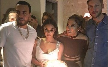 Calvin Harris parties with Kim and Kanye at Jennifer Lopez's early birthday party