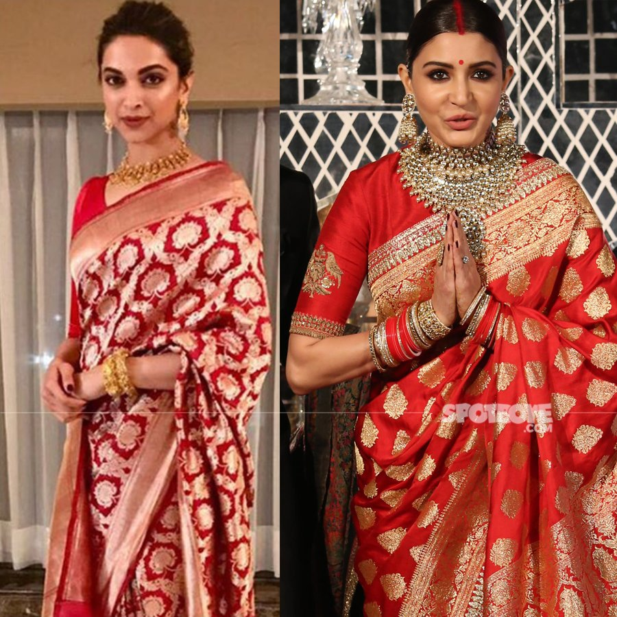 deepika padukone and anushka sharma wear a similar saree