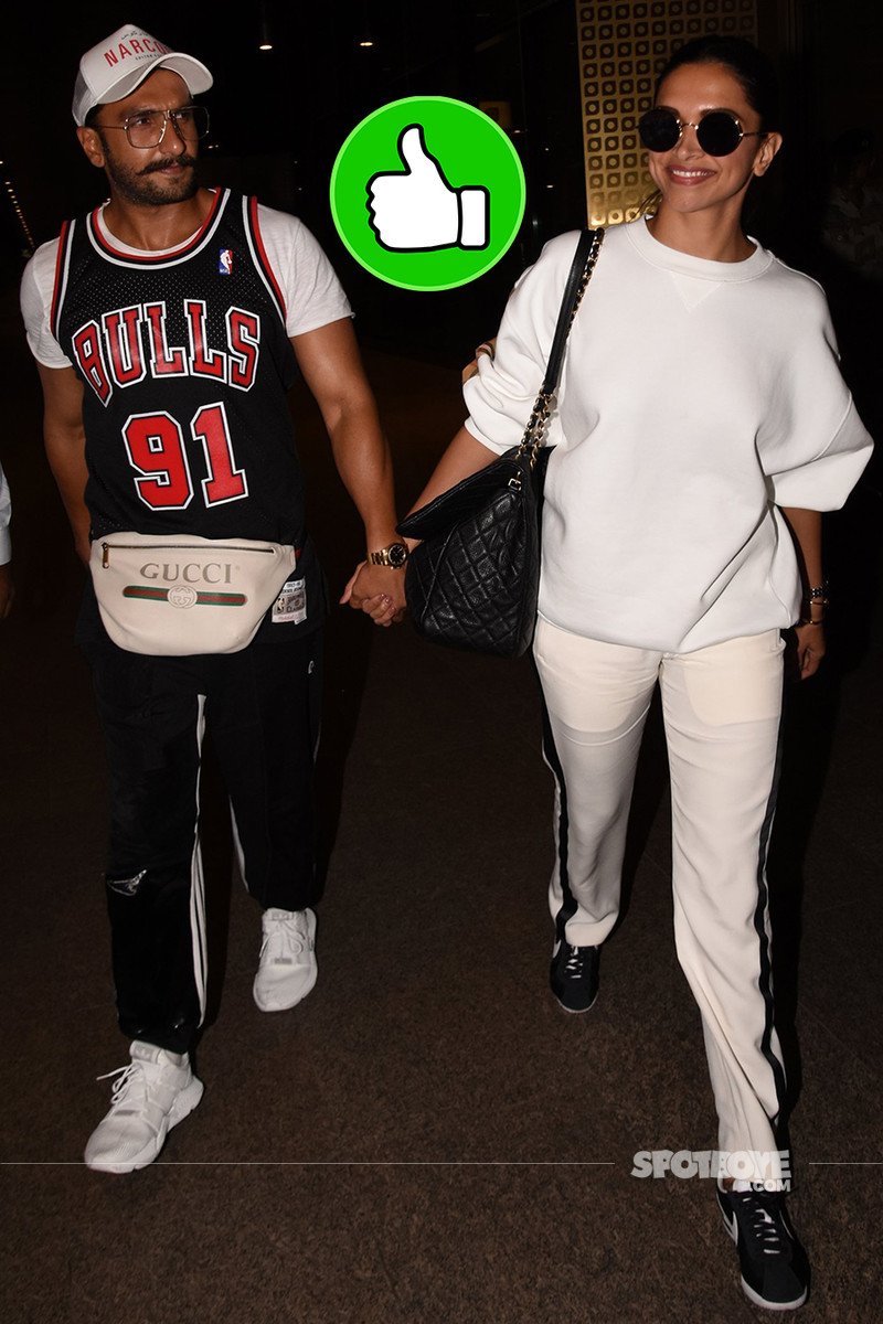 deepika padukone and ranveer singh snapped at the airport