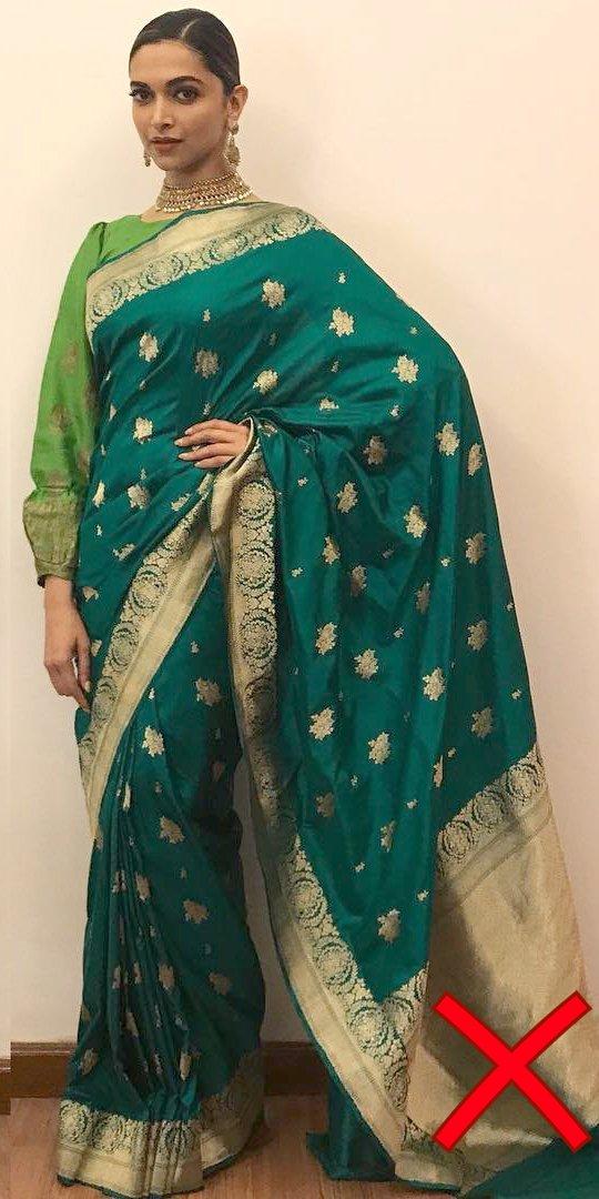 deepika padukone in a green saree