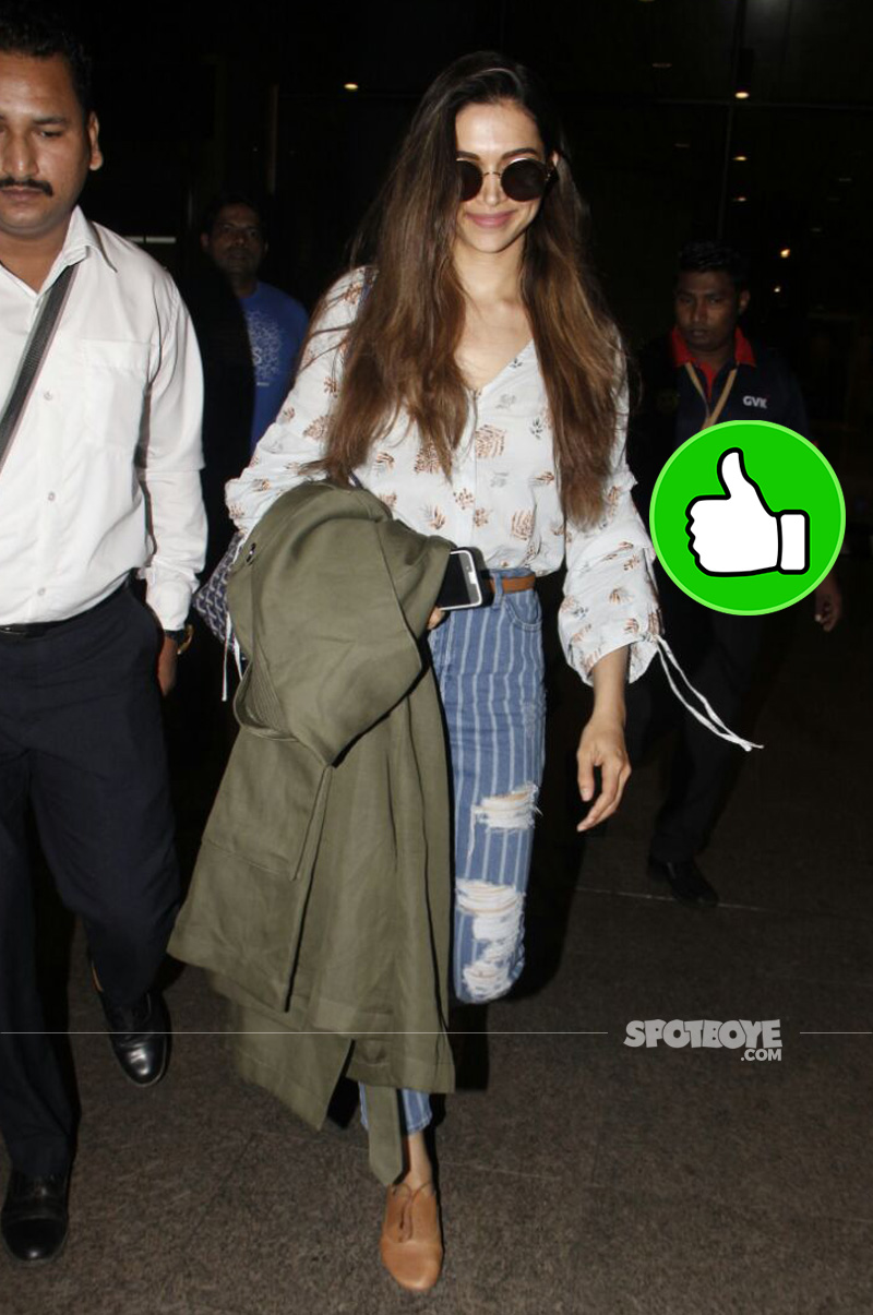 deepika padukone looks super stylish as she arrives back from banglore