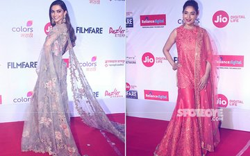 Deepika Padukone & Madhuri Dixit Give TOUGH COMPETITION In Their Indian Look To Each Other At Jio Filmfare (Marathi) Awards