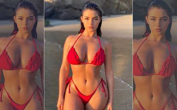 Demi Rose Looks Piping Hot In An Almost There Red Bikini As She Flaunts Her Perfect Curvaceous Beach Bod